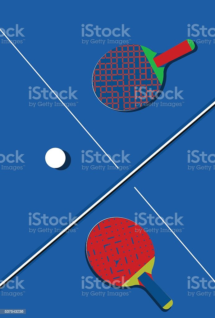 Ping pong background with two vintage ping pong paddles. vector art illustration