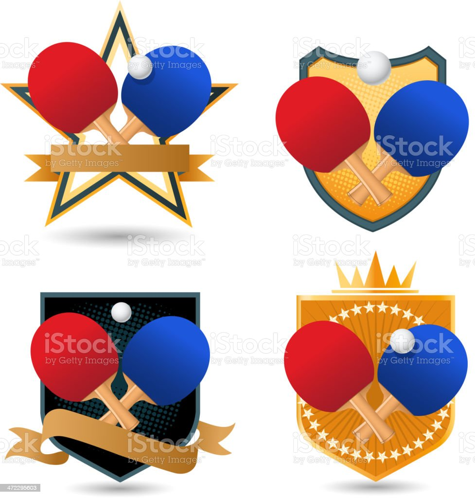 Ping pong Gold Emblem with rackets ball crown star shape royalty-free stock vector art