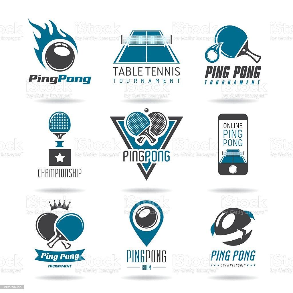 Ping pong icon set vector art illustration