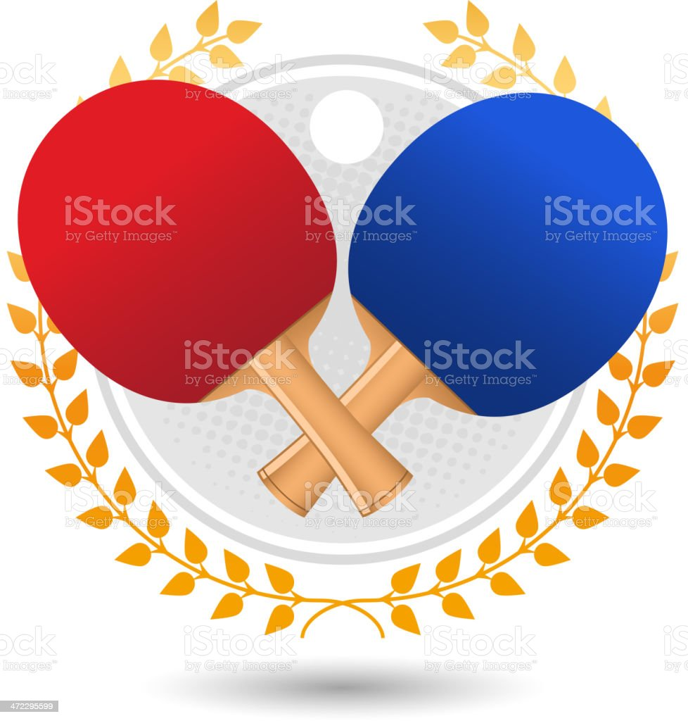 Ping pong laurel wreath with rackets and ball vector art illustration