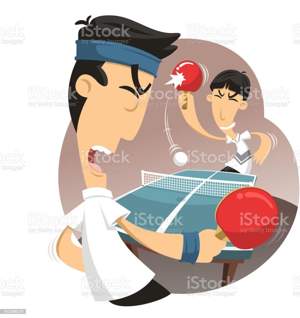 Ping pong match vector art illustration
