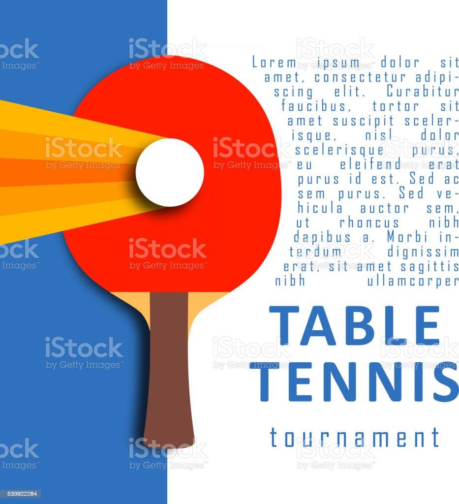 Ping pong racket and ball. Table tennis. Sport design vector art illustration