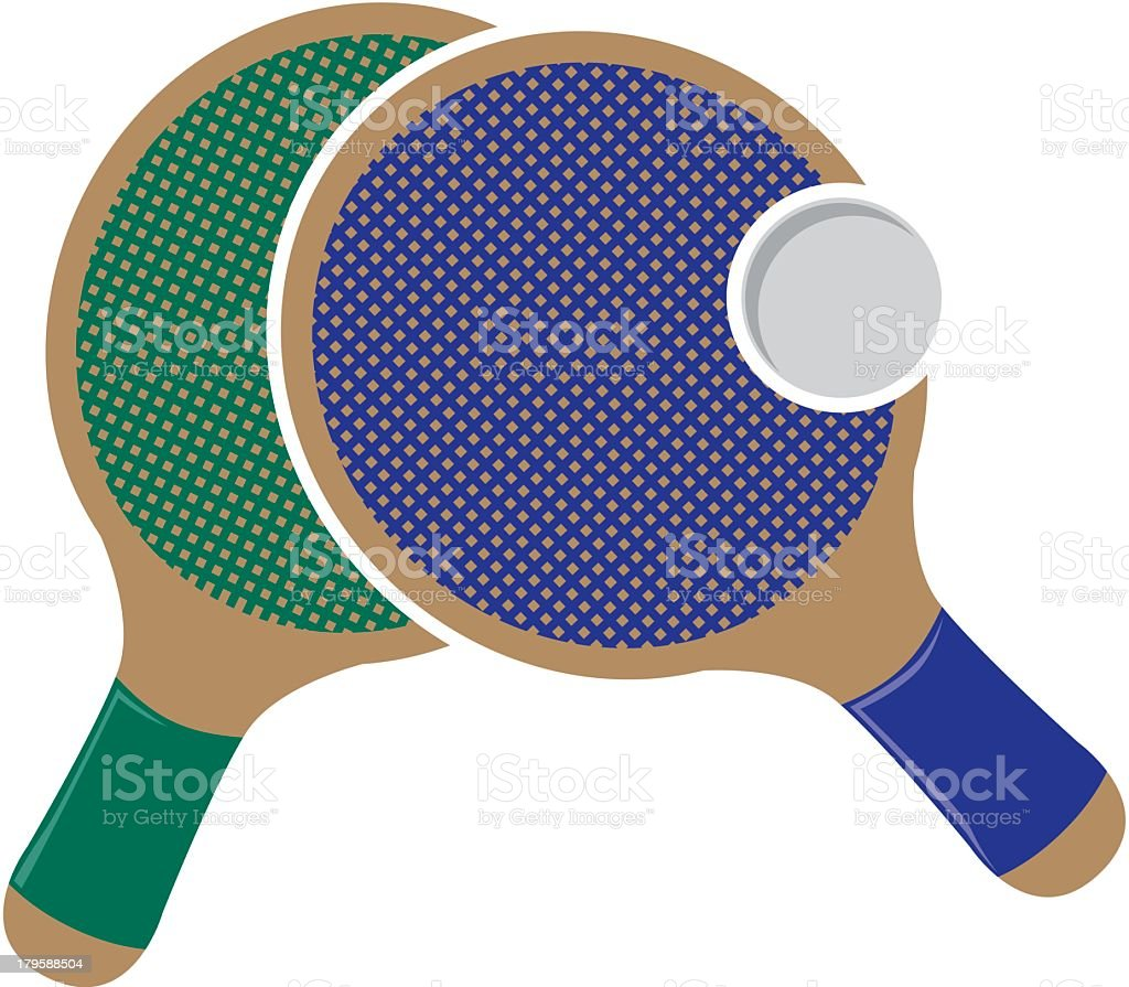 Ping Pong Rackets And Ball royalty-free stock vector art