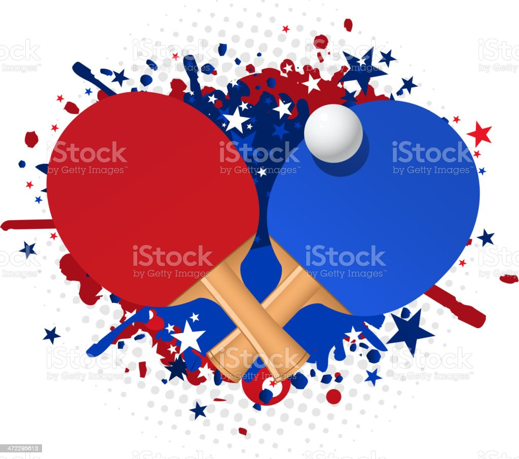 Ping pong red and blue racket splash with ball stars vector art illustration