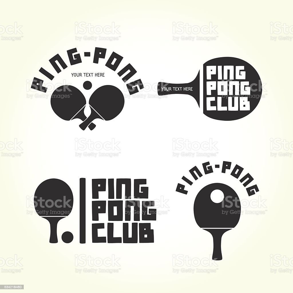Ping-pong club isolated vector logotypes vector art illustration