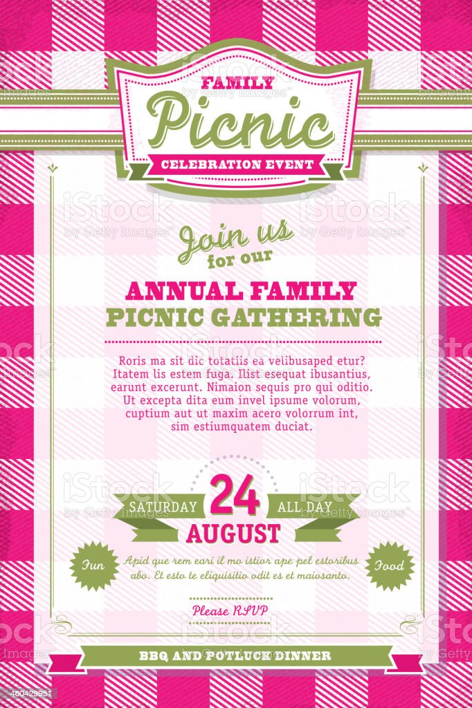 Pink and green Picnic invitation design template royalty-free stock vector art