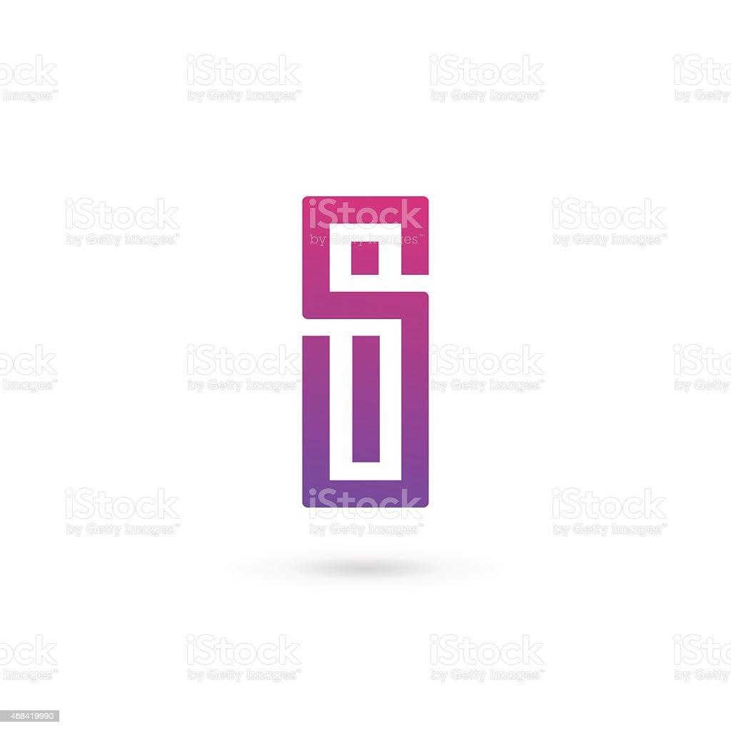 Pink and purple letter I design vector art illustration