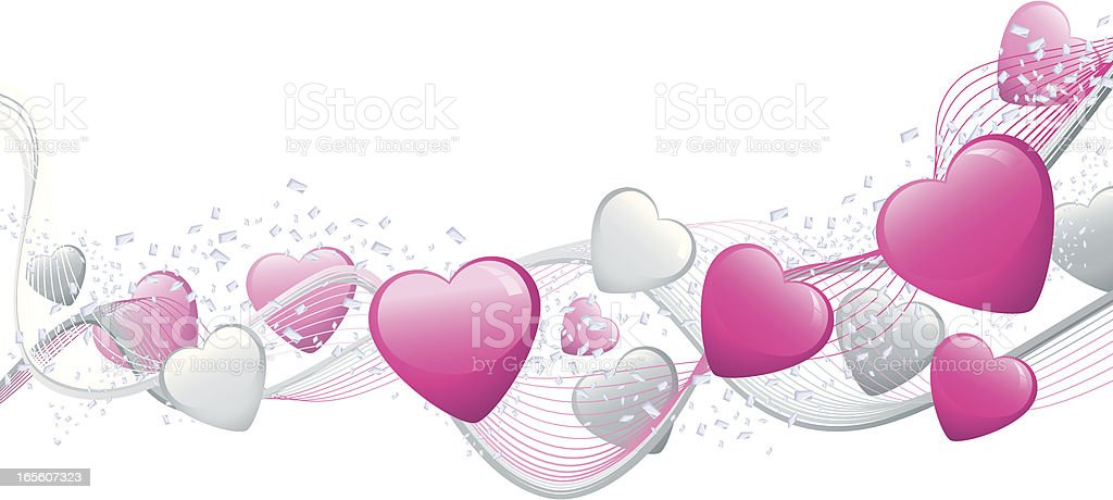 Pink and Silver Heart Banner royalty-free stock vector art