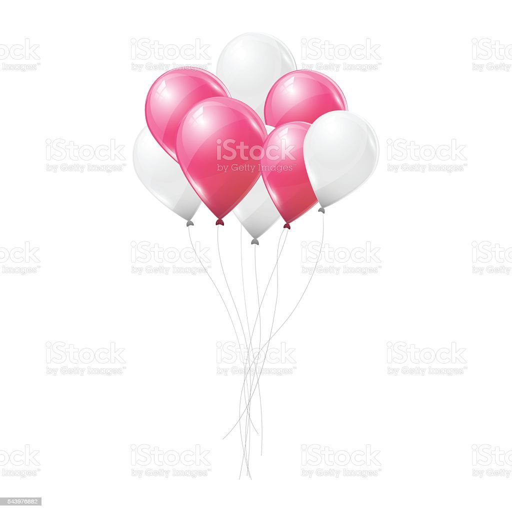 Pink and white balloons on white background. vector art illustration