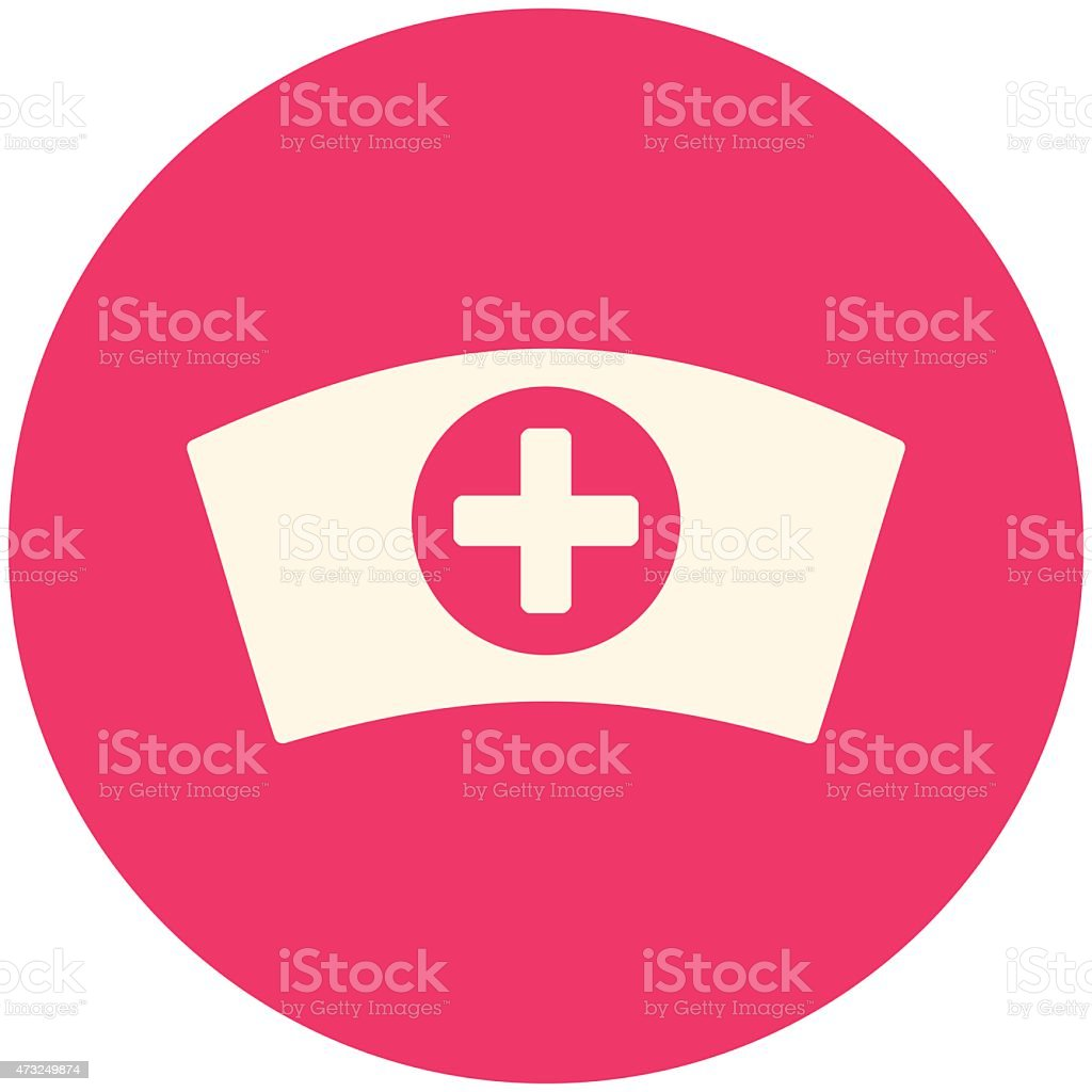 Pink and white round icon representing a nurse cap vector art illustration