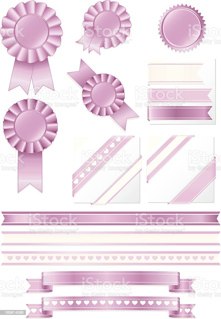 Pink Award Rosettes, Stickers, Horizontal and Corner Ribbons Set royalty-free stock vector art