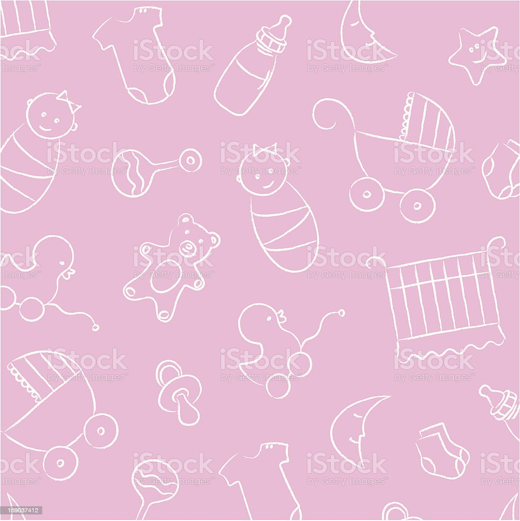 pink baby girl background pattern stock vector art