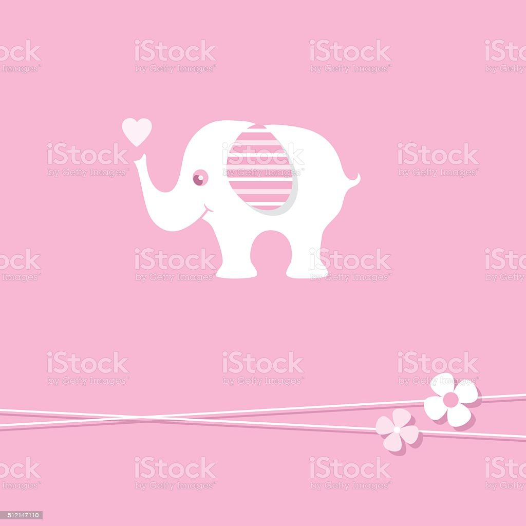 pink baby girl elephant greeting card vector art illustration