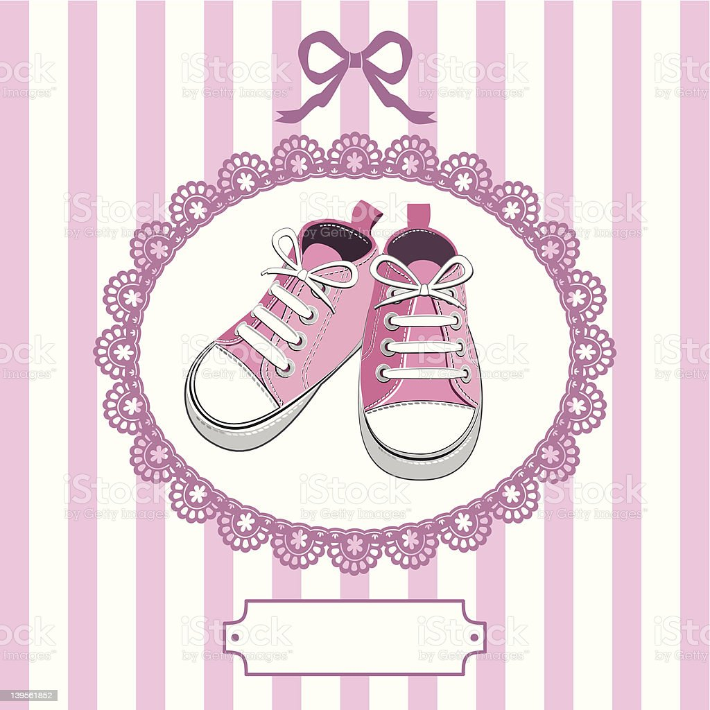 Pink baby shoes and lace frame royalty-free stock vector art