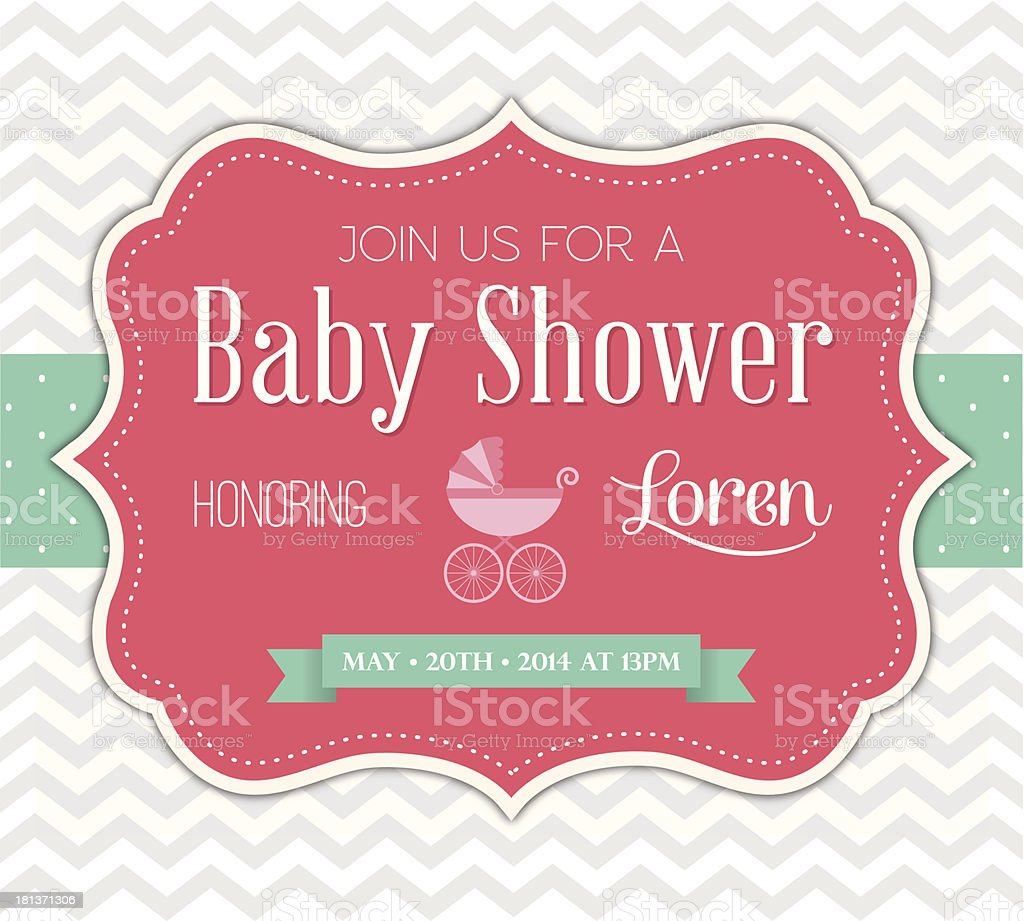 Pink baby shower invitation vector illustration vector art illustration