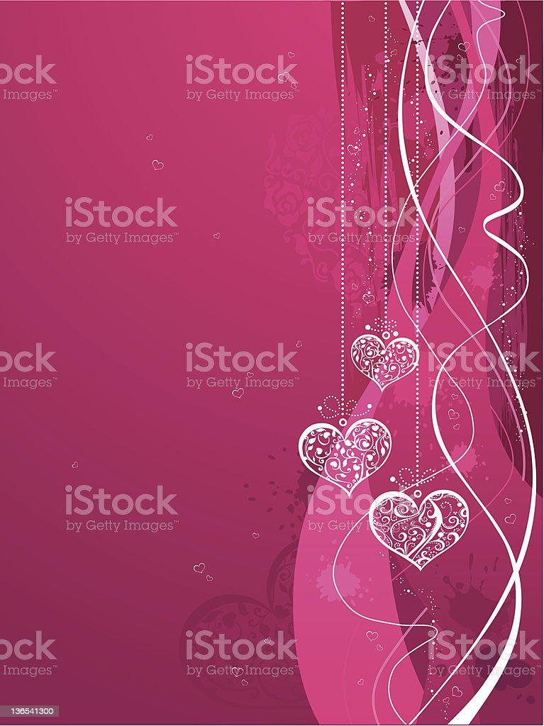 Pink background with hearts royalty-free stock vector art