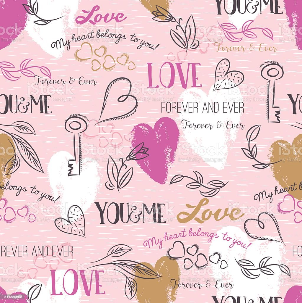 pink background with  valentine heart , flower, text,  vector vector art illustration