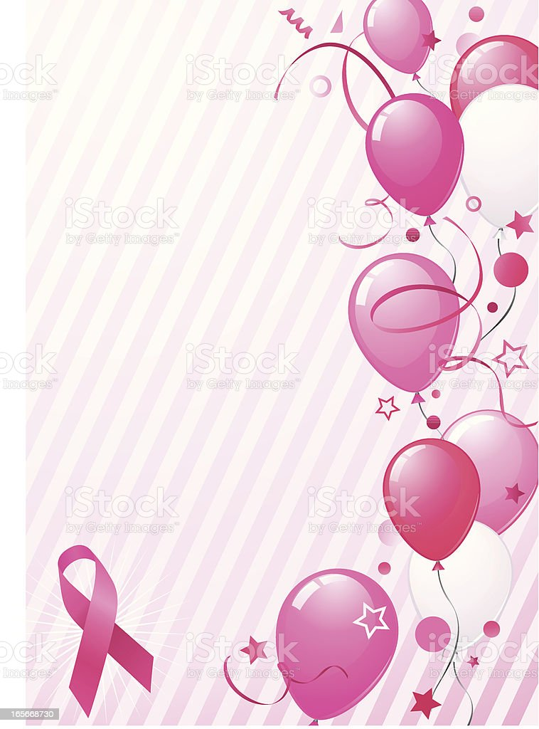 Pink balloons and ribbon background vector art illustration