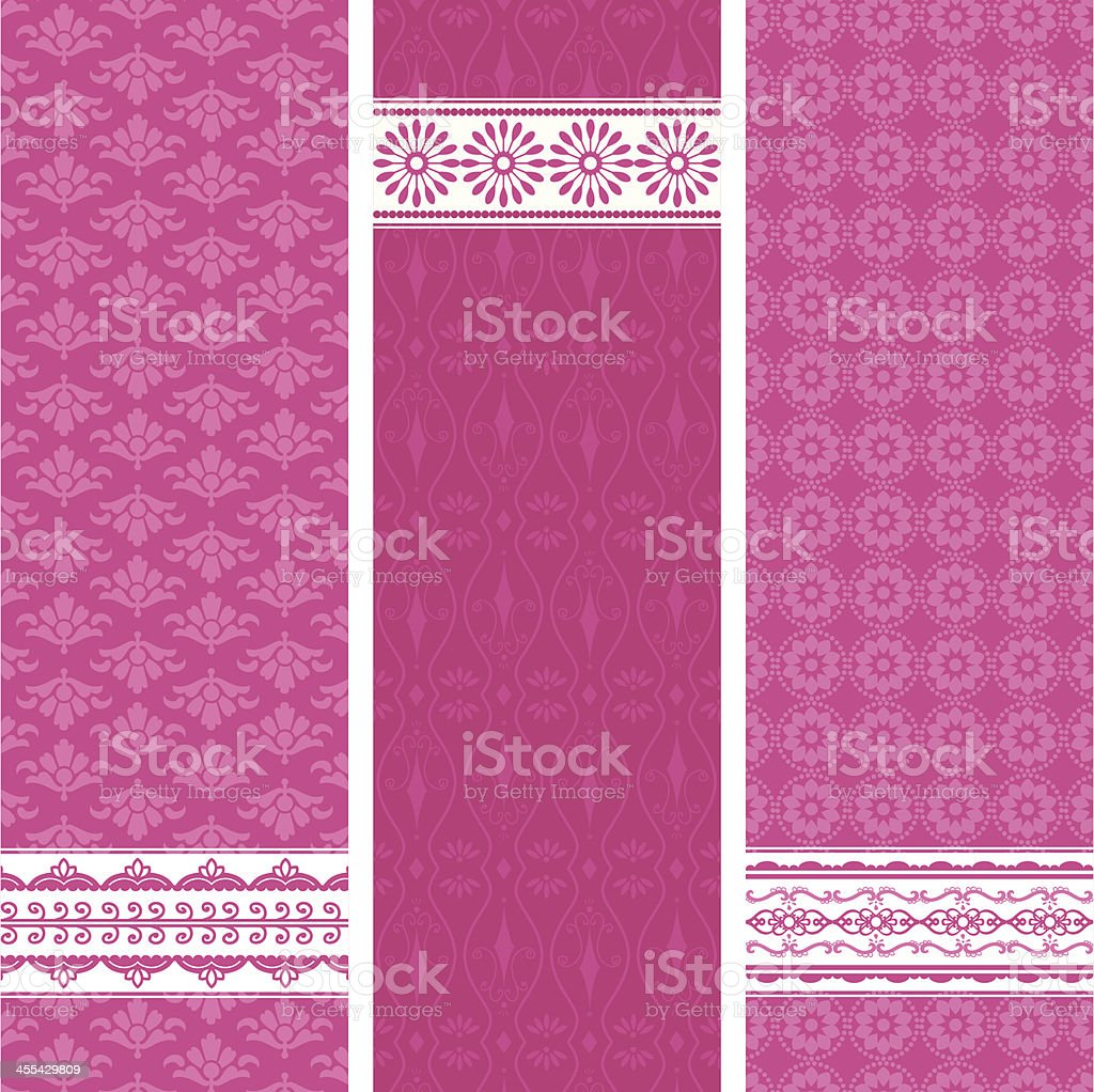 Pink Banners vector art illustration