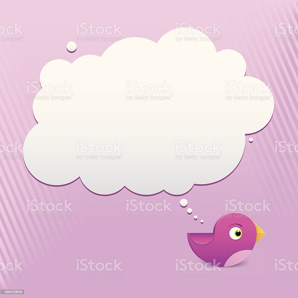 Pink Bird Thinking royalty-free stock vector art