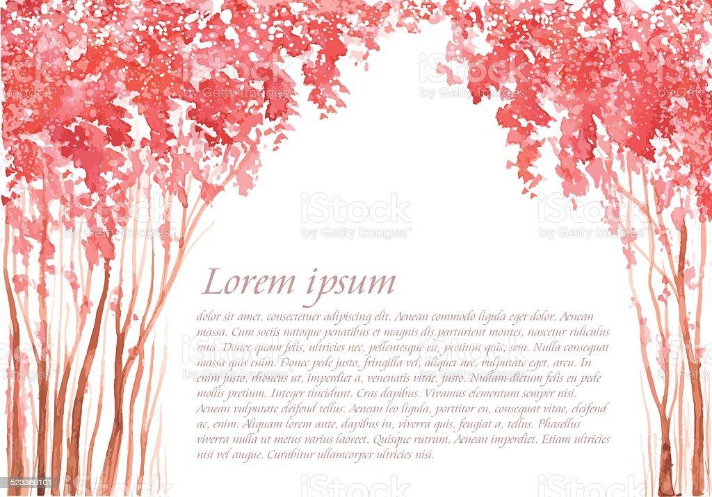 Pink blossom trees alley. vector art illustration