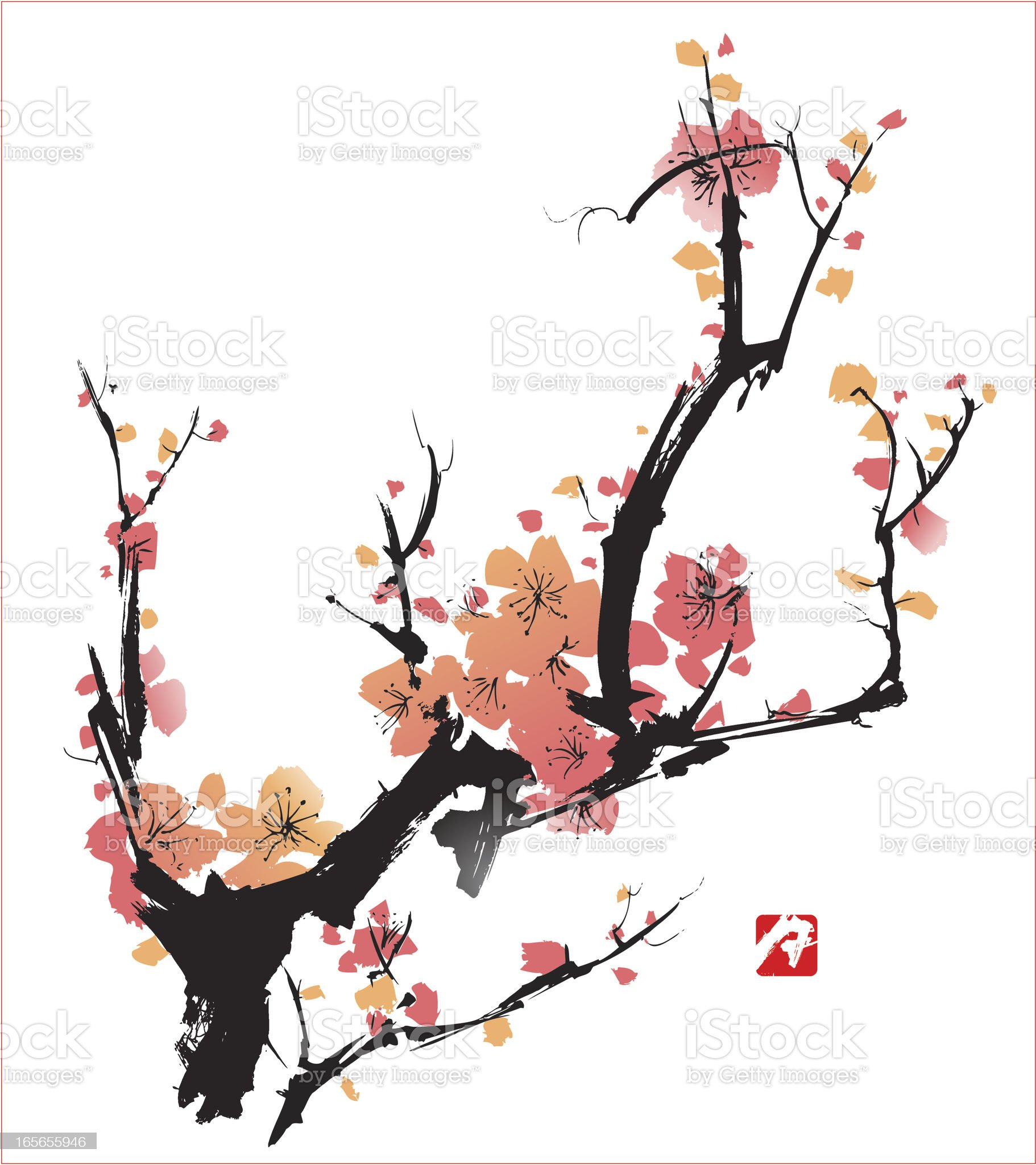 Pink blossoms on black branches over a white backdrop royalty-free stock vector art