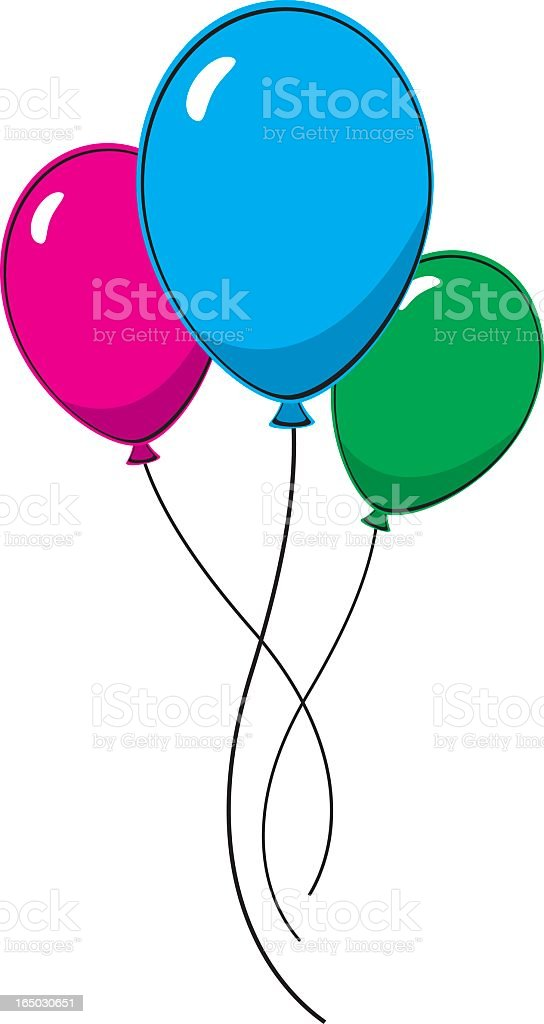 Pink blue and green balloons on white background royalty-free stock vector art