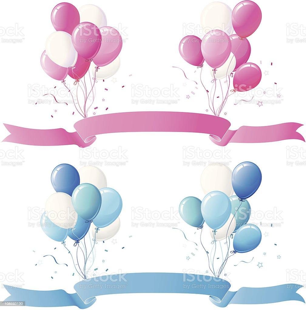 Pink, Blue Balloon and Banner Design Set vector art illustration