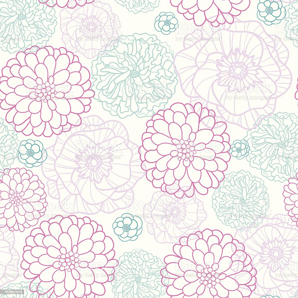 Pink Blue Flowers Lineart Seamless Pattern Background royalty-free stock vector art