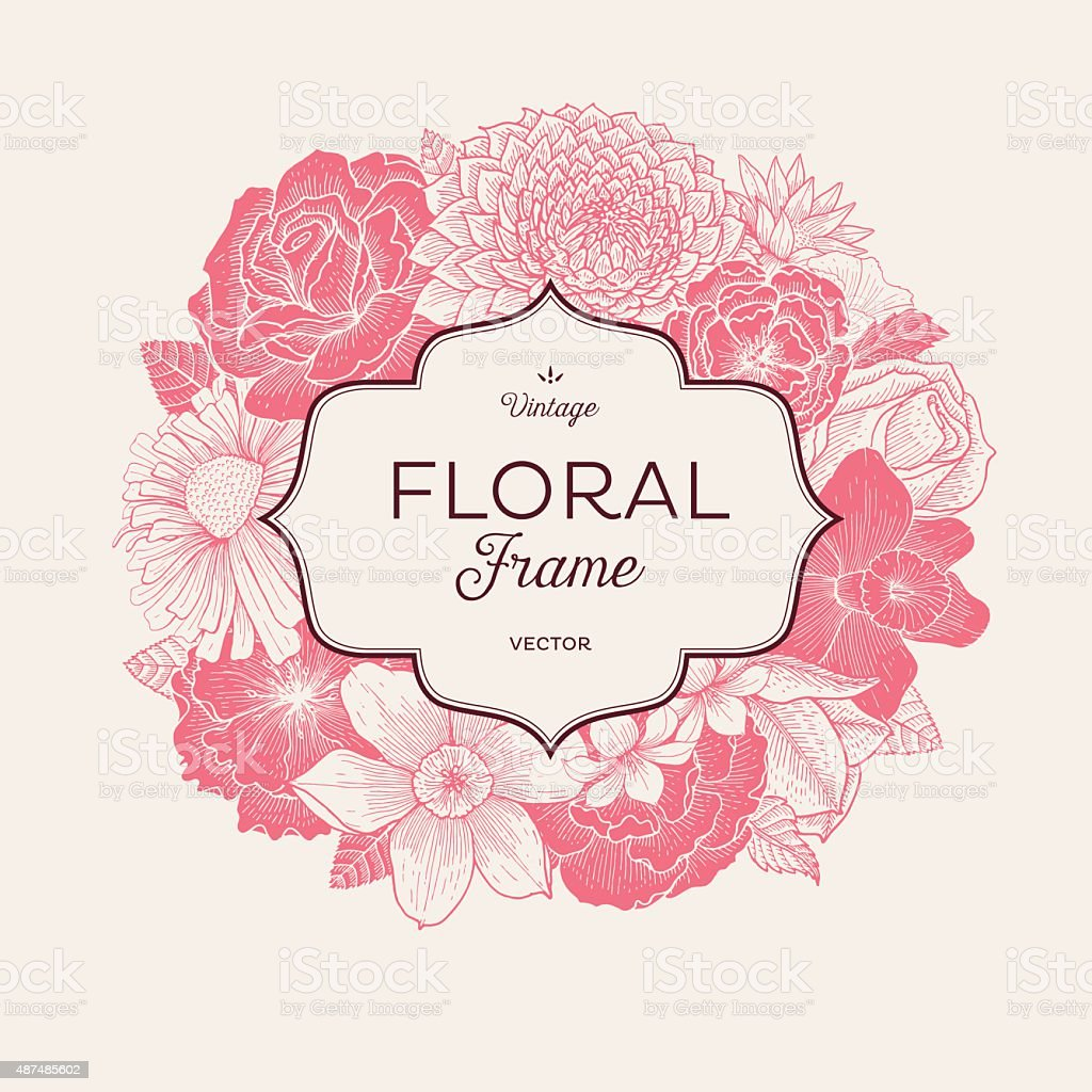 Pink Bouquet Label vector art illustration