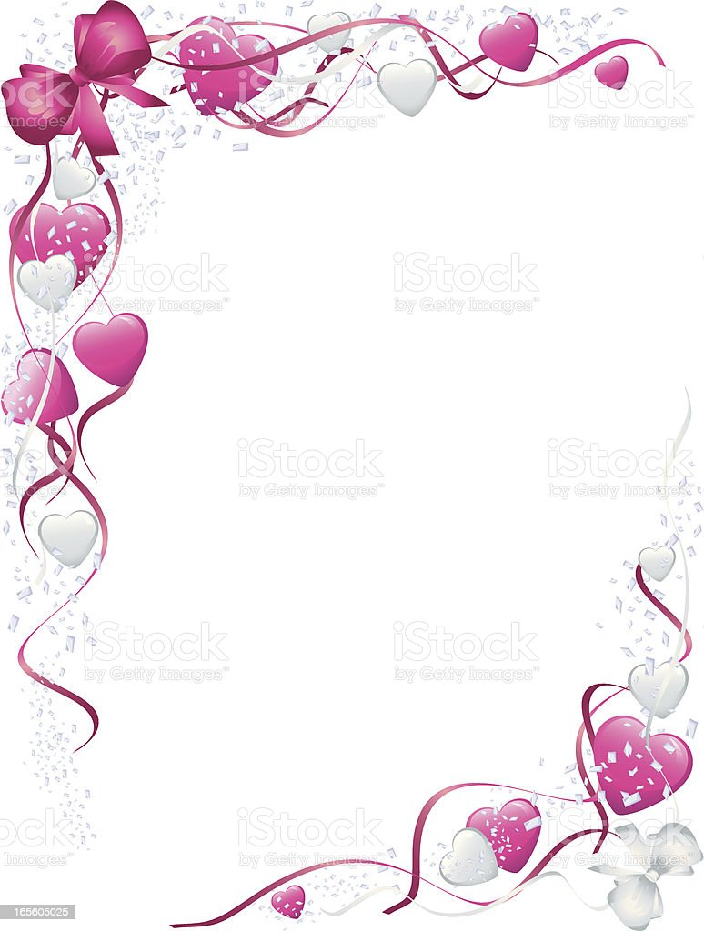 Pink Bows and Hearts Valentines Corners royalty-free stock vector art