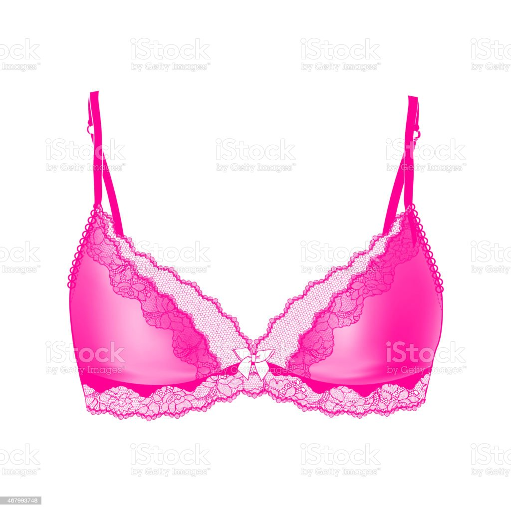 pink bra with some details on a white background vector art illustration