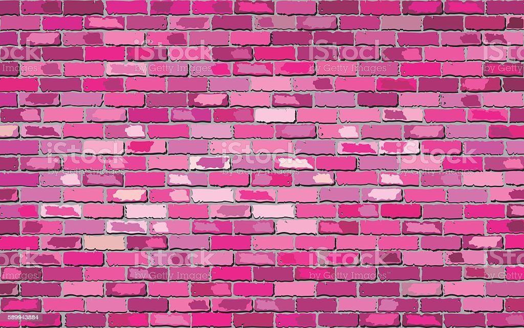 Pink brick wall vector art illustration