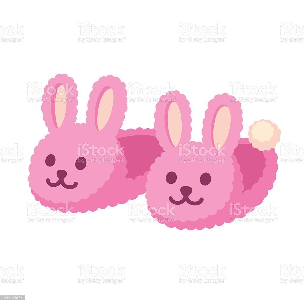 Pink bunny slippers vector art illustration