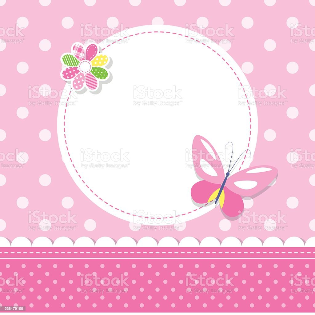pink butterfly baby girl greeting card vector art illustration