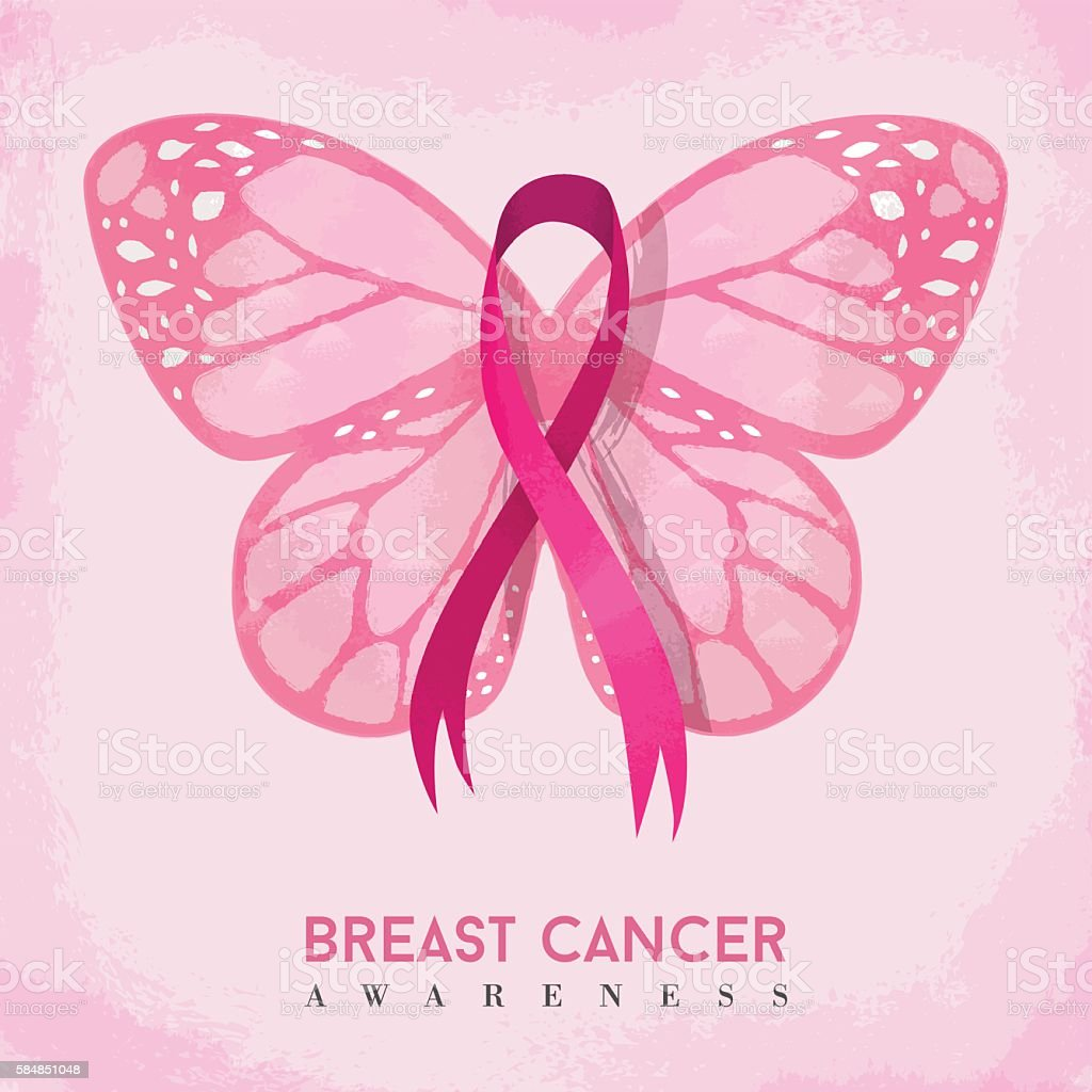 Pink butterfly with ribbon for breast cancer vector art illustration