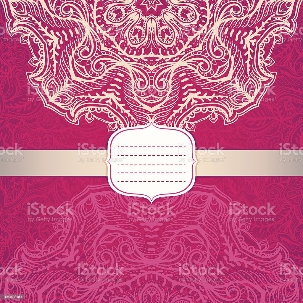 pink card with a circular ornament royalty-free stock vector art