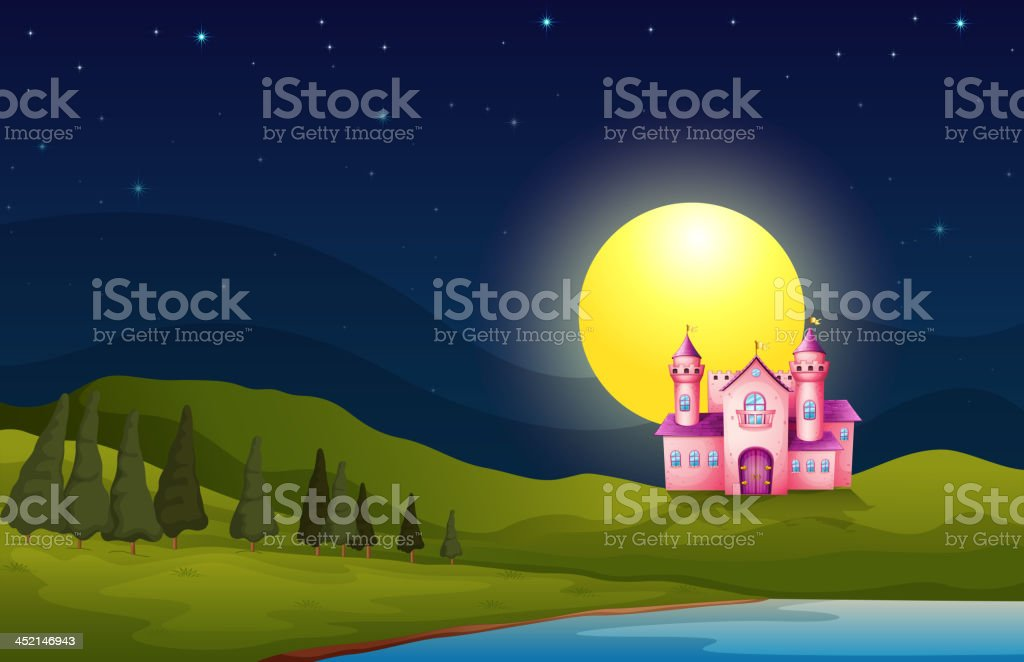pink castle in the hill royalty-free stock vector art