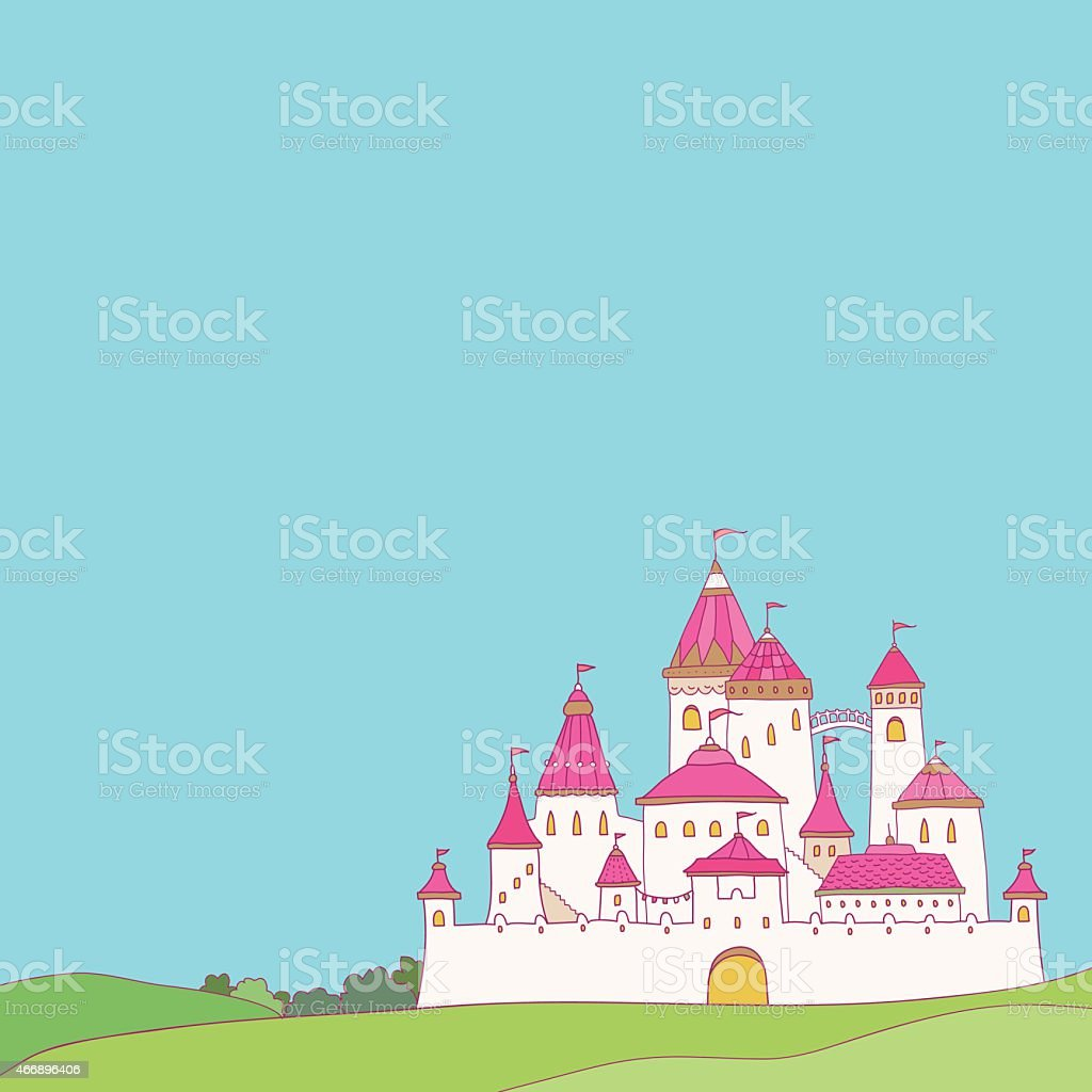 Pink castle vector art illustration