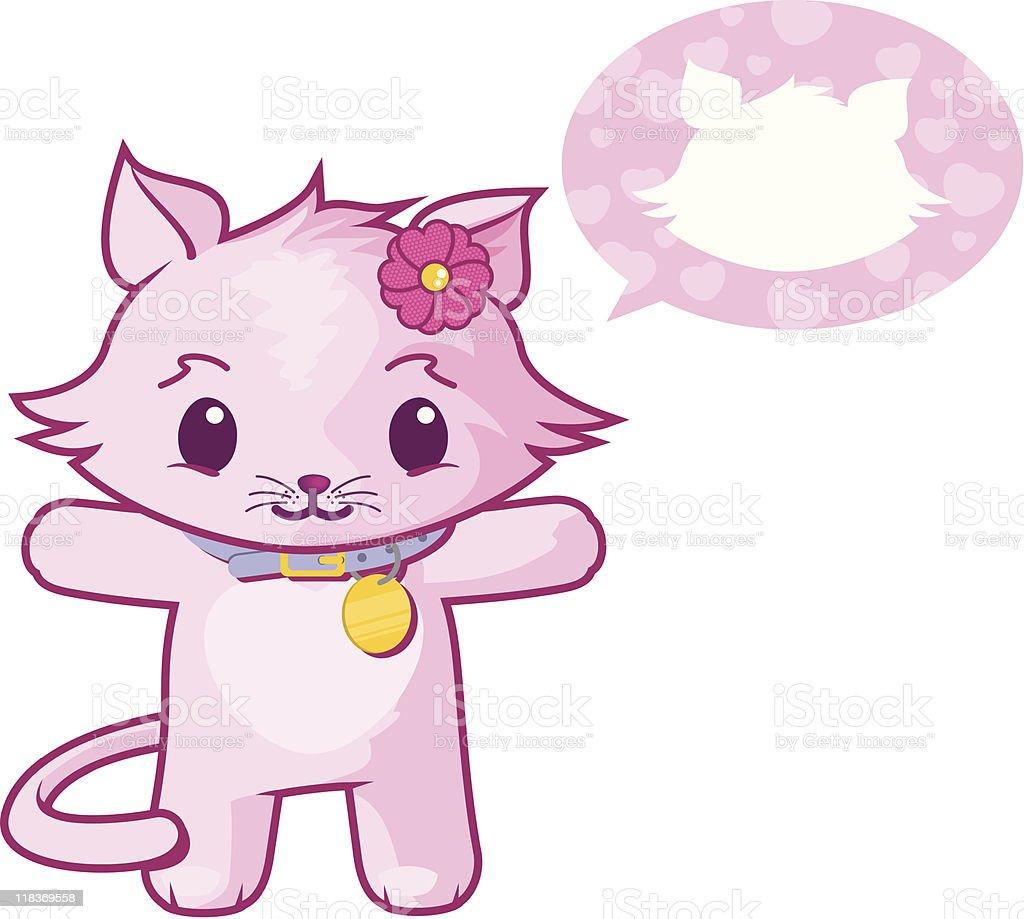 Pink cat vector art illustration