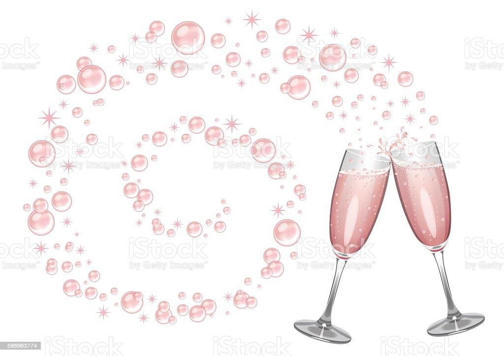 Pink Champagne Background vector art illustration
