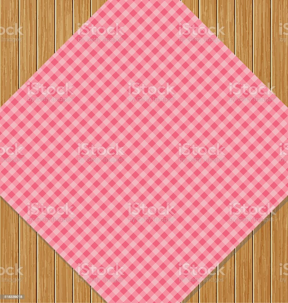 Pink Checkered Tablecloth On Brown Oak Wooden Table Royalty Free Stock  Vector Art
