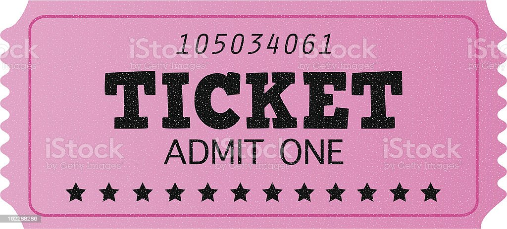 Pink cinema retro admit one ticket isolated on white royalty-free stock vector art