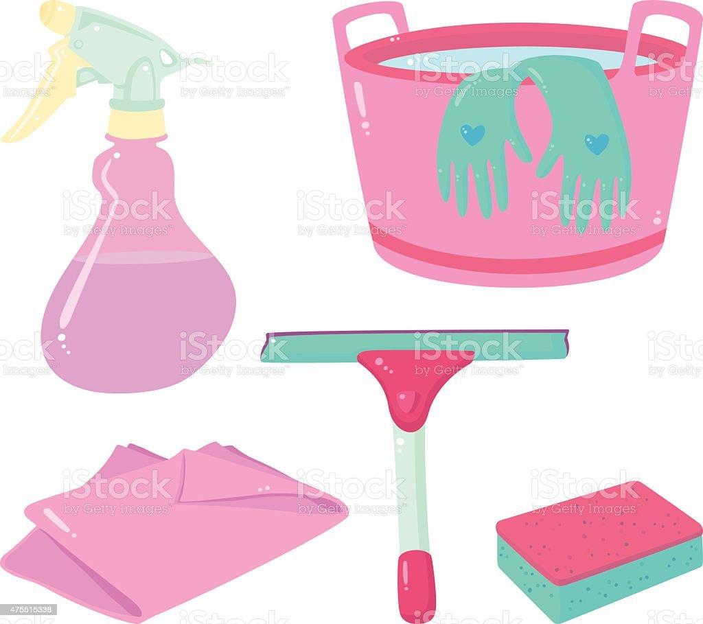 Pink cleaning set vector art illustration