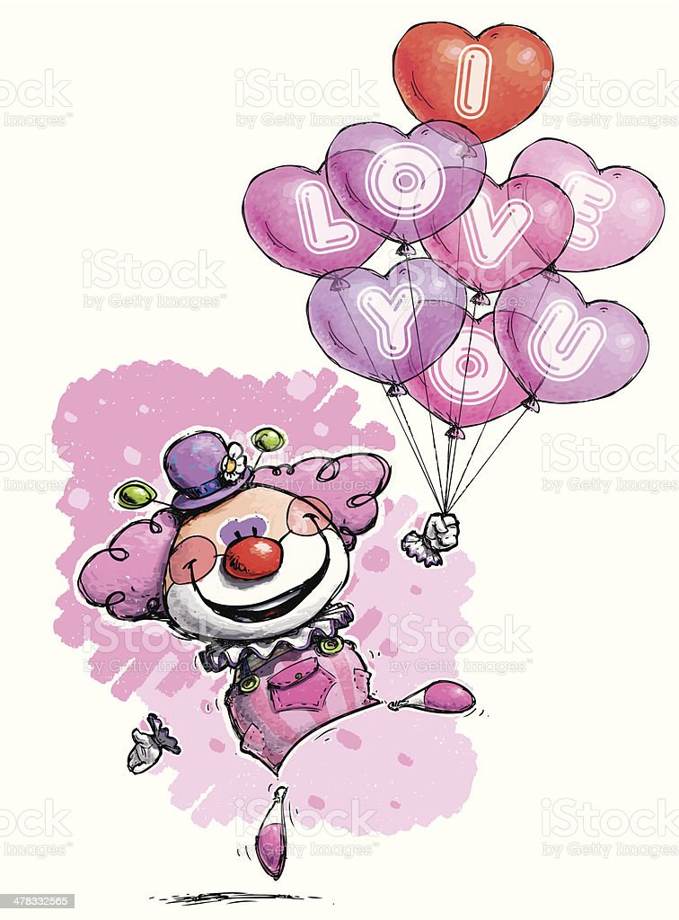 Pink Clown with Heart Balloons Saying 'I Love You' royalty-free stock vector art