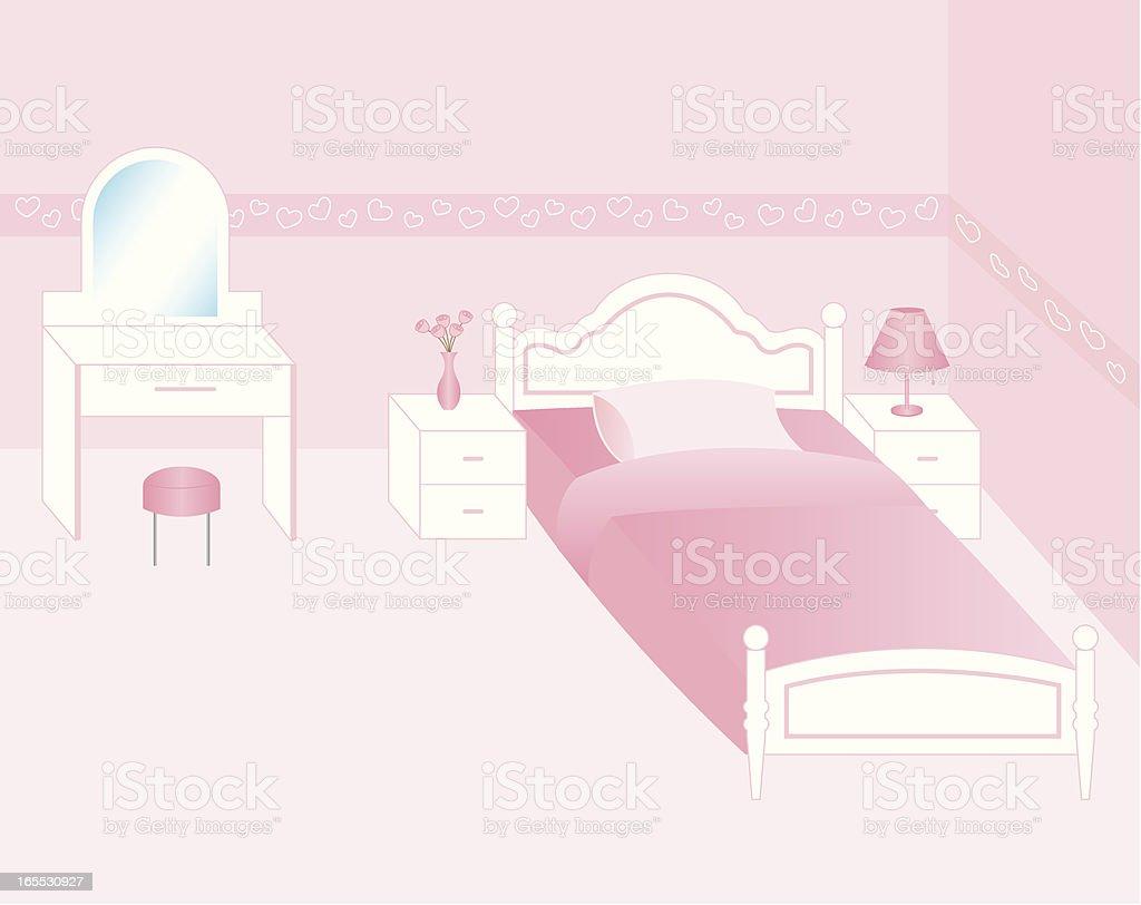 Pink color bedroom vector art illustration