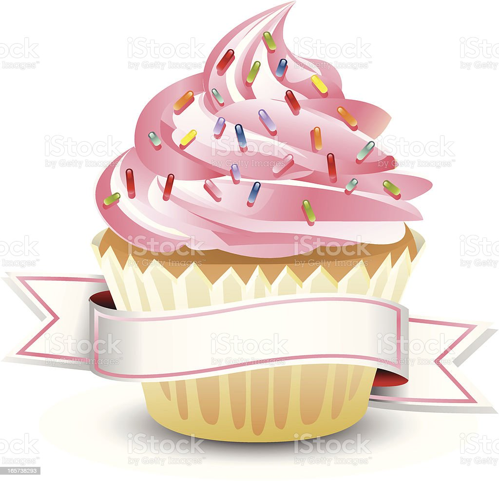 Pink Cupcake with Banner vector art illustration