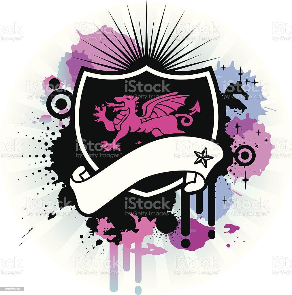 pink dragon emblem royalty-free stock vector art