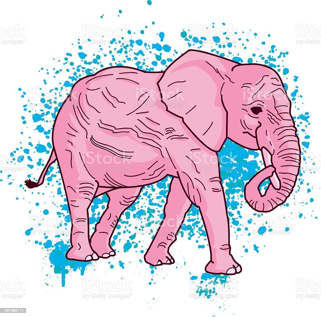Pink Elephant On Spray Paint vector art illustration