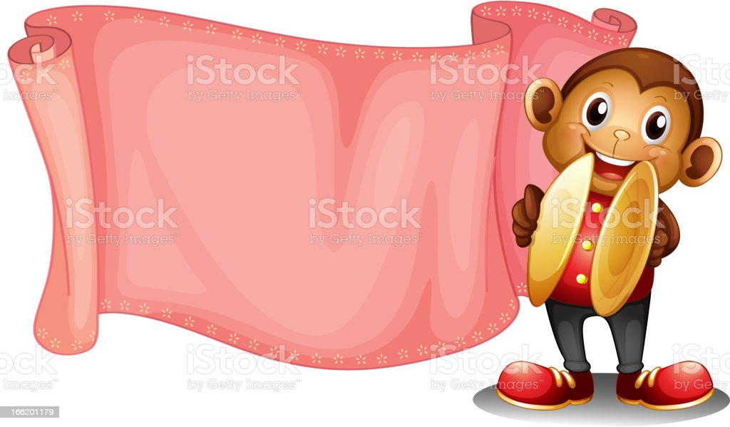 Pink empty banner with a monkey vector art illustration